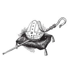 Mitre and crosier is a type of headgear vintage vector
