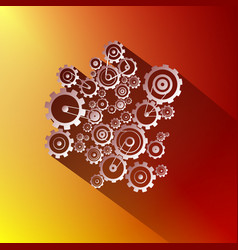 Paper cogs gears on red and gold background vector
