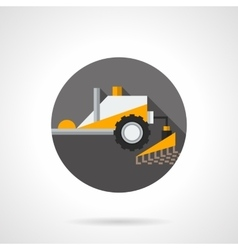 Plowing tractor flat color design icon vector