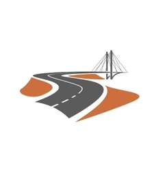 Road leading to the cable-stayed bridge vector