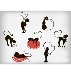 Set of elegant cats with hearts for Valentines Day vector image