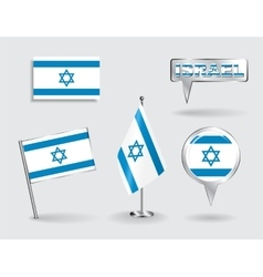 Set of israeli pin icon and map pointer flags vector