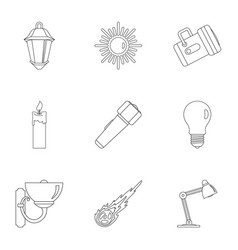 sources of light icon set outline style vector image