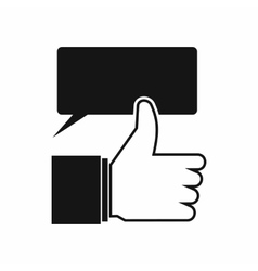 Thumbs up and speech bubble icon simple style vector