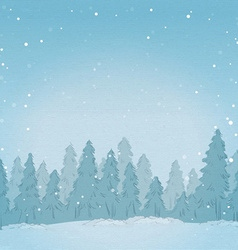 Vintage winter forest landscape background vector