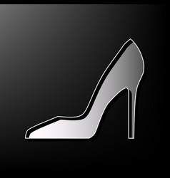 Woman shoe sign gray 3d printed icon on vector