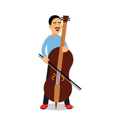 Young man playing cello cartoon character cellist vector