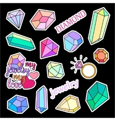 Fashion patch badges diamonds and jewelry set vector
