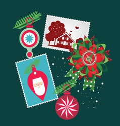 Christmas set-greeting elements vector
