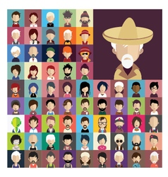Set of people icons in flat style with faces 03 a vector