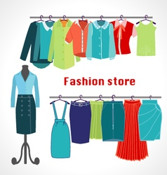 Clothing store Boutique indoor Fashion store vector image