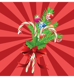 Candy canes with bow and branch5 vector