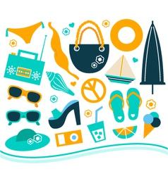 Summer design element set - orange and blue vector