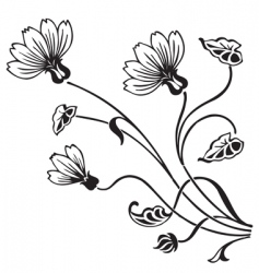Antique floral ornament engraving vector