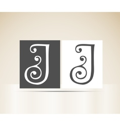 Retro alphabet letter j art deco vintage design vector