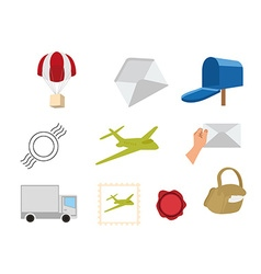 Flat set of packaging icons vector