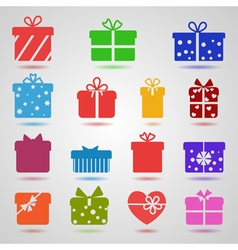 Set of different colorful gift boxes vector