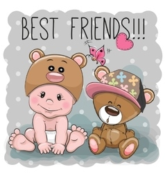 Cute cartoon baby and Teddy Bear vector image