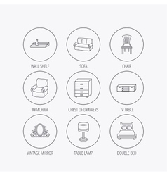 Double bed table lamp and armchair icons vector