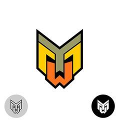 Evil daemon robot tech face logo letters y m and w vector