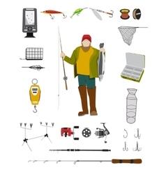 Fisherman and fishing tackle flat icon set vector image