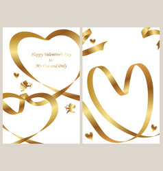 a set of two valentines day card templates vector image vector image