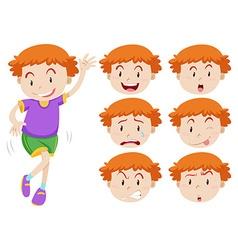 Boy and facial expressions vector