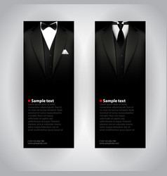 business cards with elegant suit and tuxedo vector image vector image