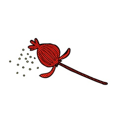 Comic cartoon dried poppy flower vector