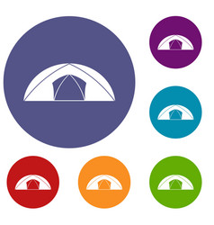 Dome tent for camping icons set vector