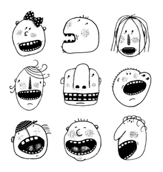 Doodle outline cartoon people faces heads set vector