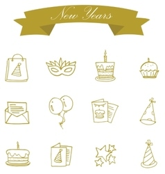 Element of new year icons art vector
