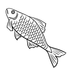 Fish icon in outline style isolated on white vector image vector image