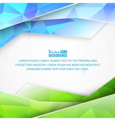 Green triangles and waves on white background vector image