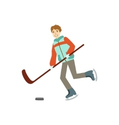 Guy Playing Hockey Winter Sports vector image vector image