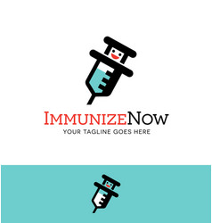 immunize character logo or icon design vector image vector image