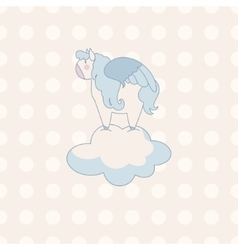 Little cute pegasus in pastel colors on a vector