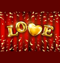 Love heart gold foil glitter on red a curtain vector