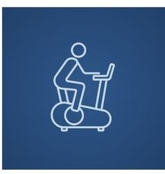 Man training on exercise bike line icon vector