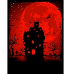 Scary halloween castle vector