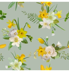 Seamless pattern floral background spring flowers vector