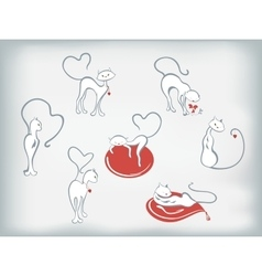 Set of cats with hearts for Valentines Day EPS10 vector image