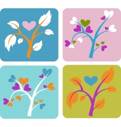 set of love trees vector image vector image