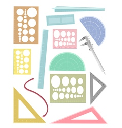 Set of rulers and a protractor vector