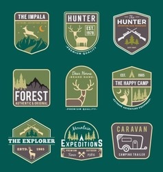 Set of trekking badge and logo vector