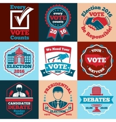 Set of Vote labels badges for elections vector image