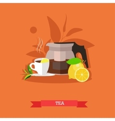 teapot tea cup lemon vector image vector image