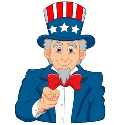 Uncle Sam cartoon wants you vector image vector image