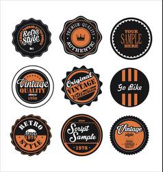 Vintage labels black and orange set 2 vector