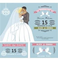 Wedding invitation setKissing Cartoon bride and vector image vector image